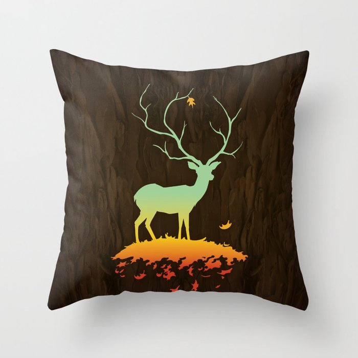 Fawn and Flora Throw Pillow