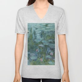 Monet, Water Lilies, Nympheas, Seerosen, 1915 Unisex V-Neck
