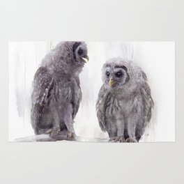 Young Barred Owls Perched on a Branch,Watercolor painting Rug