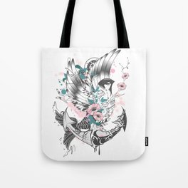Bird fish with anchor Tote Bag