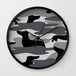 Grey Camo Weiner Dogg Wall Clock