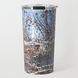 branches of trees in the snow closeup Travel Mug