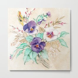 Pansies Bouquet Metal Print