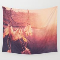 dream catcher Wall Tapestries featuring Dream Catcher by Whitney Retter
