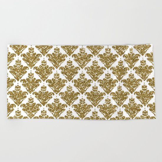 Faux White and Gold Glitter Small Damask