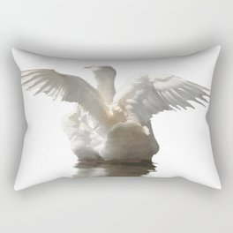 White Duck Flapping Wings on Water Vector Rectangular Pillow
