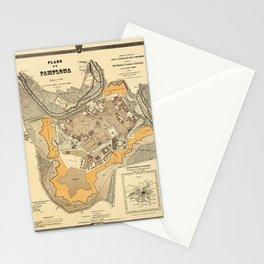 Map Of Pamplona 1882 Stationery Cards