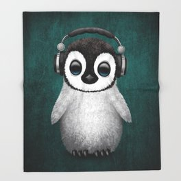 Cute Baby Penguin Dj Wearing Headphones on Blue Throw Blanket
