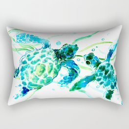 Sea Turtles, Turquoise blue Design Rectangular Pillow
