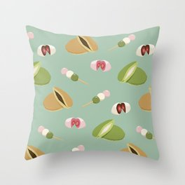 Japanese sweets (Green) Throw Pillow