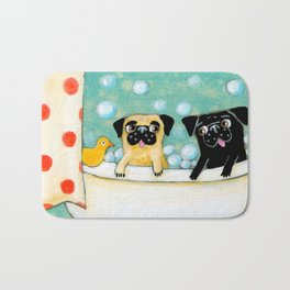 Pug Bath Time cute pug painting by TASCHA Bath Mat