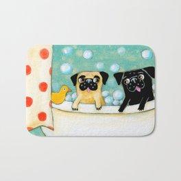 Pug Bath Time cute pug painting by TASCHA Bath Mat