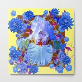 PASTEL IRIS & BLUE  BLUE FLOWERS YELLOW PATTERNS  FLOWERS ART FLOWERS Metal Print