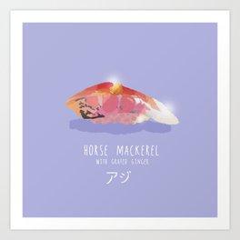 Horse Mackerel Sushi Art Print