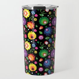 Folk - garden on black background Travel Mug