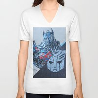 optimus prime V-neck T-shirts featuring Optimus Prime  by JMH Art