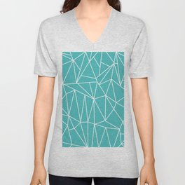 Geometric Cobweb (White & Teal Pattern) Unisex V-Neck