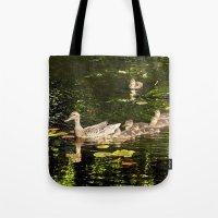 ducks Tote Bags featuring Ducks by LudaNayvelt