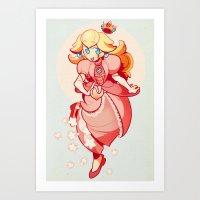 princess peach Art Prints featuring Princess Peach by Soojin P.