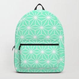 Aqua Geometric Flowers and Florals Isosceles Triangle Backpack