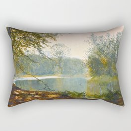 John Atkinson Grimshaw - The Quiet of the Lake, Roundhay Park - Victorian Retro Vintage Painting Rectangular Pillow