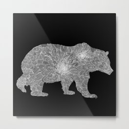 Floral Linework Bear in White Metal Print
