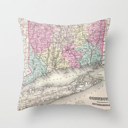 Vintage Map of Connecticut (1857) Throw Pillow