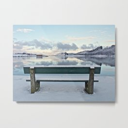 Bench at the fiord Metal Print