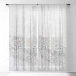 Silver Gray Glitter #3 #shiny #decor #art #society6 Sheer Curtain