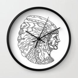 American Plains Indian with War Bonnet Doodle Wall Clock