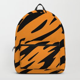 Bold and Beautiful Black and Orange Abstract Tiger Striped Pattern Backpack