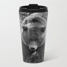 Grizzly Bear - B & W Metal Travel Mug