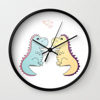 dinosaurs Wall Clocks featuring Dinosaurs by LifeSmiles