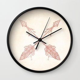 Tribal Arrows Rose Gold on Paper Wall Clock