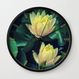 Yellow Lotus Flowers Wall Clock