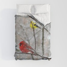 Goldfinch and Cardinal Comforters