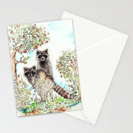 Raccoons in the Forest (color edition) Stationery Cards