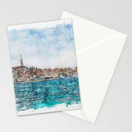 Aquarelle sketch art. Boat trip Rovinj. View to the city. Stationery Cards