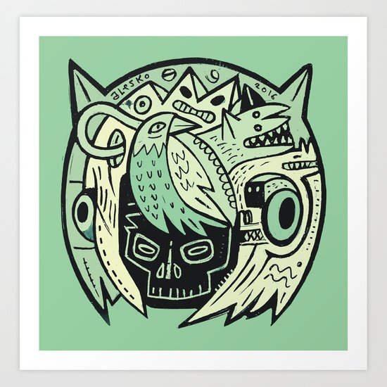 Bubble head - green Art Print