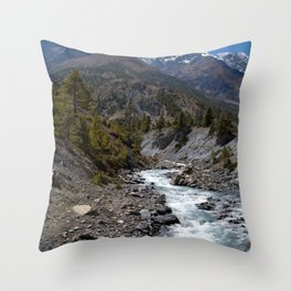 River and Mountains en route to Manang Throw Pillow