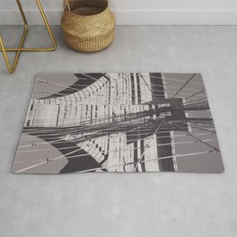 Brooklyn bridge details,  black & white architecture photography, new york city, NY,  city landscape Rug
