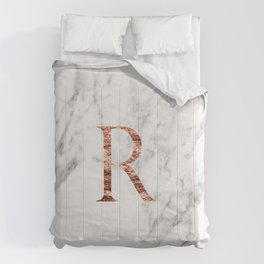 Monogram rose gold marble R Comforters