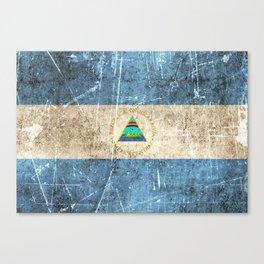 Vintage Aged and Scratched Nicaraguan Flag Canvas Print