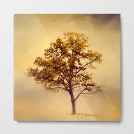 Amber Gold Cotton Field Tree Metal Print