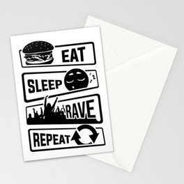 Eat Sleep Rave Repeat - Party Electro Music Event Stationery Cards
