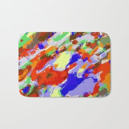 camouflage pattern painting abstract background in red blue green yellow brown purple Bath Mat