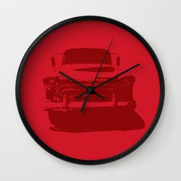 CHEVY PICKUP IN MONOCHROMATIC RED Wall Clock