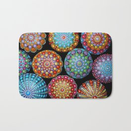 Colorful Mandala painted stones Bath Mat
