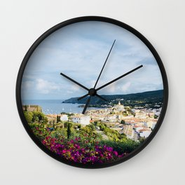 Spanish Coast | Costa Brava Cadaques Coastal Mediterranean Village Riviera Art Wall Clock