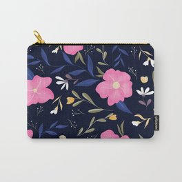 Love never ends quote pink floral navy blue pattern Carry-All Pouch